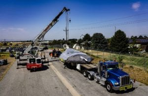 """F-117 Nighthawk stealth fighter """"Midnight Rider"""", #799, arrives on flatbed truck at Hill Aerospace Museum"""