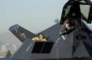 49th Aircraft Maintenance Squadron crew chiefs prepare an F-117 Nighthawk stealth fighter to launch during a Red Flag exercise, Nellis Air Force Base, NV. (U.S. Air Force photo/Tech. Sgt. Kevin J. Gruenwald)