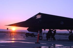 Maintainers from the 410th Flight Test Squadron do an early morning check on an F-117 Nighthawk stealth fighter at Air Force Plant 42 in Palmdale, Calif. (U.S. Air Force photo by Tech. Sgt. Eric Grill)
